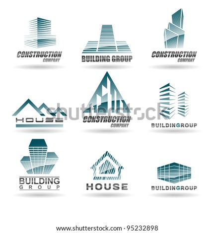 Building icon set. Abstract architecture for your design. - stock vector