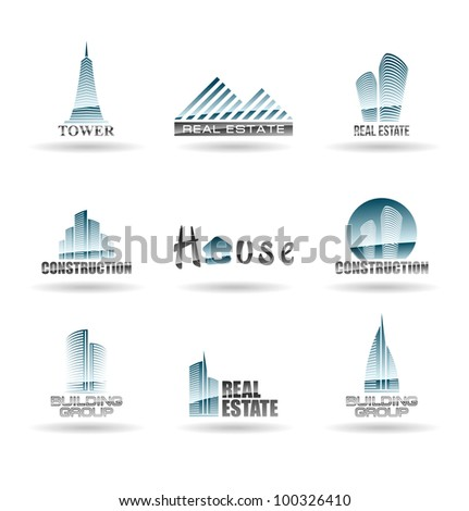 Building icon set. Abstract architecture for your design. Set 2. - stock vector