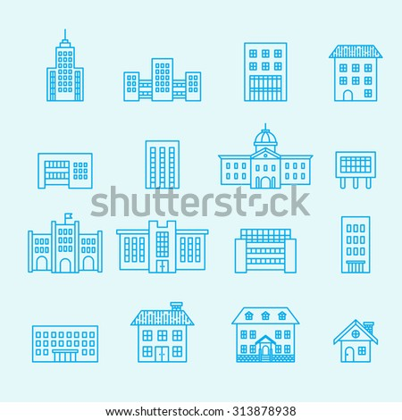 building icon set, line vector - stock vector
