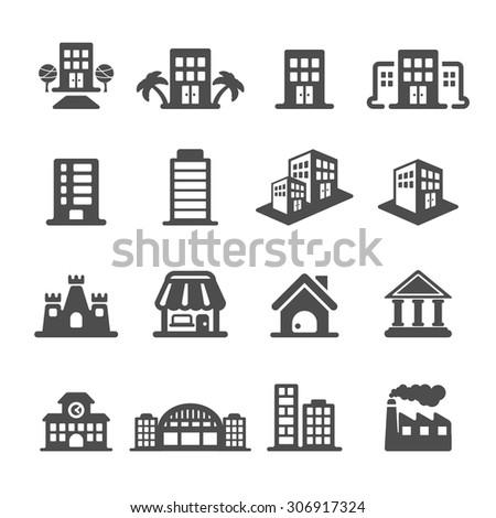 building icon set, vector eps10. - stock vector