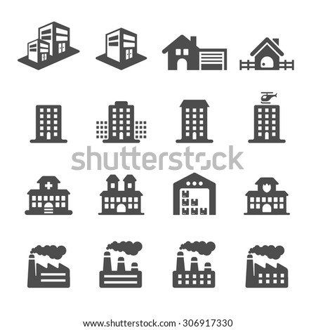 building icon set 2, vector eps10. - stock vector