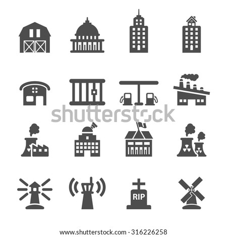 building icon set 8, vector eps10. - stock vector