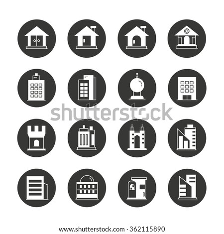 building icons, construction icons - stock vector