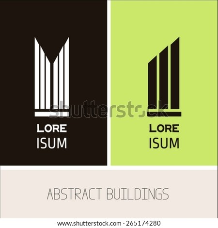 Building icons design template - stock vector