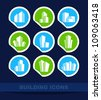 Building icons on stickers - stock vector