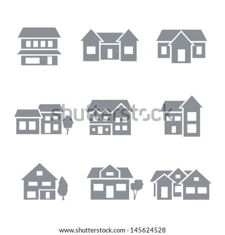 building icons - residential - stock vector