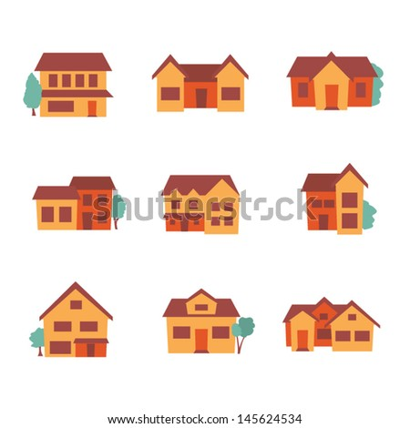 building icons - residential - retro style - stock vector