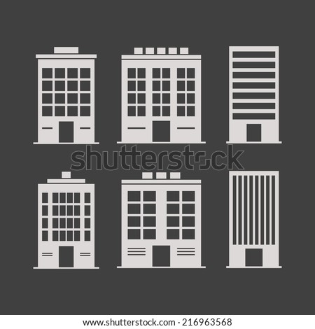 Building icons set. Isolated on black background. Vector illustration, eps 8. - stock vector