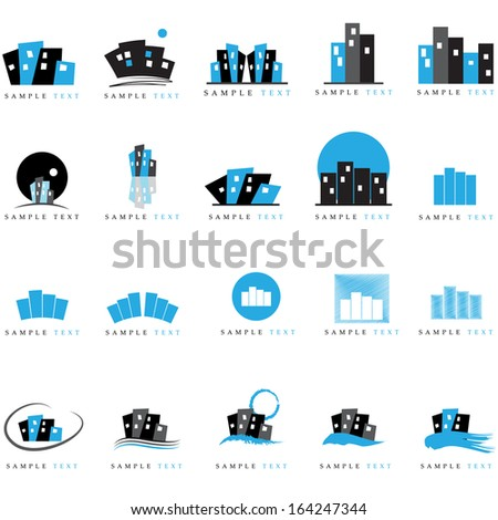 Building Icons Set - Isolated On White Background - Vector Illustration, Graphic Design Editable For Your Design   - stock vector