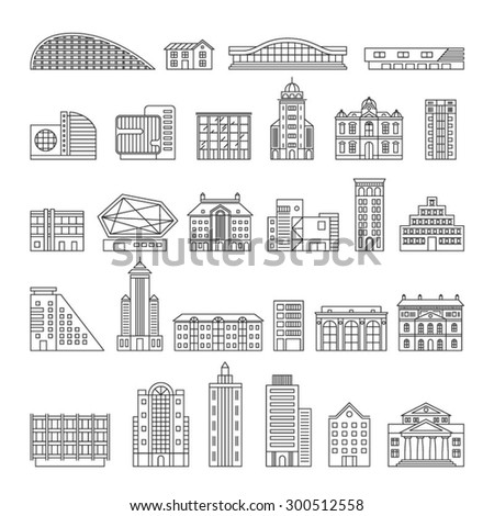 Building Icons Set. Linear style. Vector illustration. - stock vector