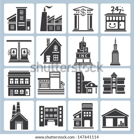 building icons set, vector - stock vector