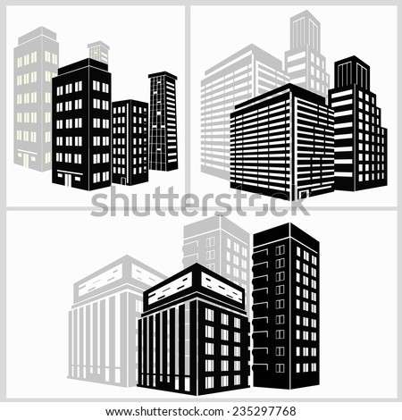 building icons set. Vector illustration. Simplus - stock vector