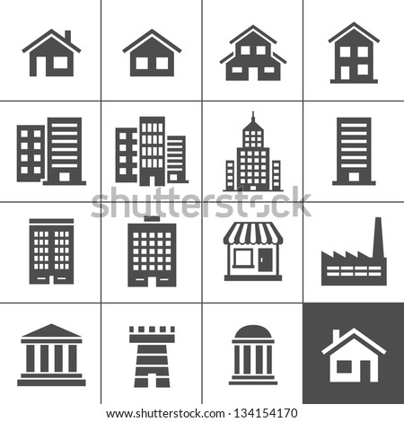 Building Icons Set. Vector illustration. Simplus series - stock vector