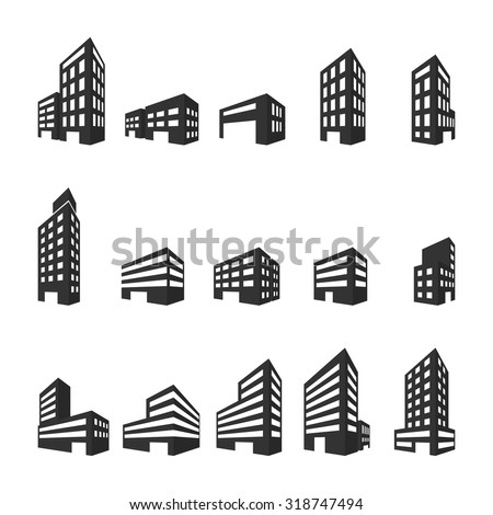 Building icons,Vector illustration. - stock vector