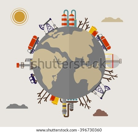 Building industrial plants polluting the environment. Toxic waste from oil extraction. Image for Earth Day, World environment day. Ecology design concept with pollution. Flat vector illustration.