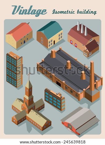 building isometric.vintage style set - stock vector