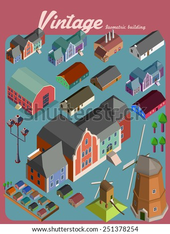 building isometric.vintage vector illustration style set - stock vector