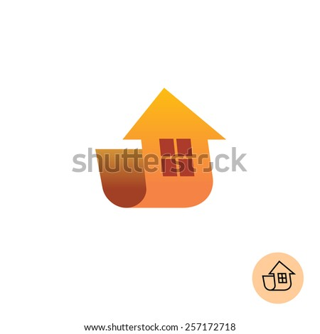 Building logo. Arrow up move with house silhouette. - stock vector