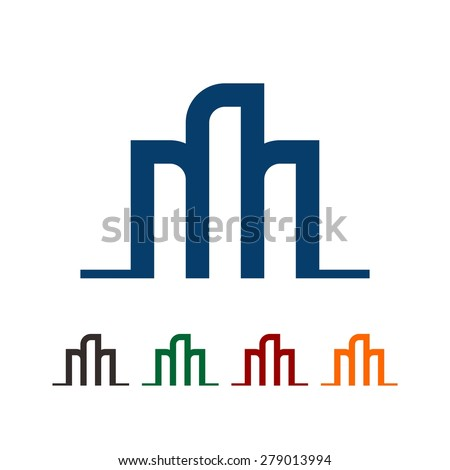 building logo design - tower icon vector template - stock vector