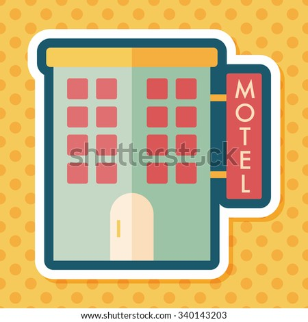 Building motel flat icon with long shadow,eps10