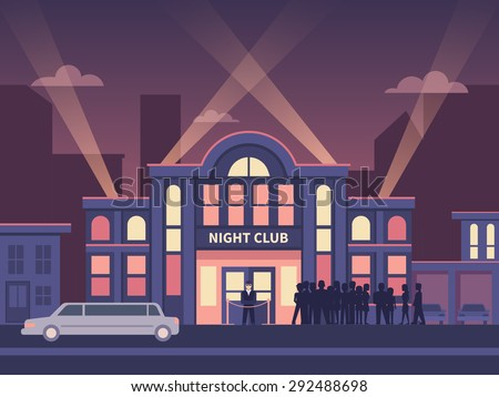 Building nightclub full house. Nightlife  evening, entertainment and event, disco show, flat vector illustration - stock vector