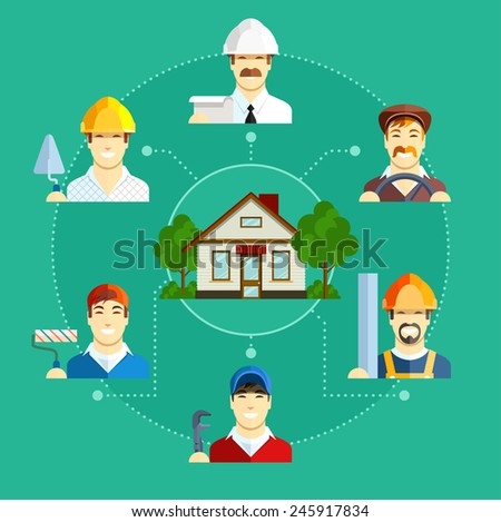 Building occupation with house. Set of flat icons. Set of flat icons. Eps10 vector illustration - stock vector