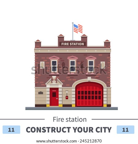 Building of fire station. Set of elements for construction of urban and village landscapes. Vector flat illustration - stock vector