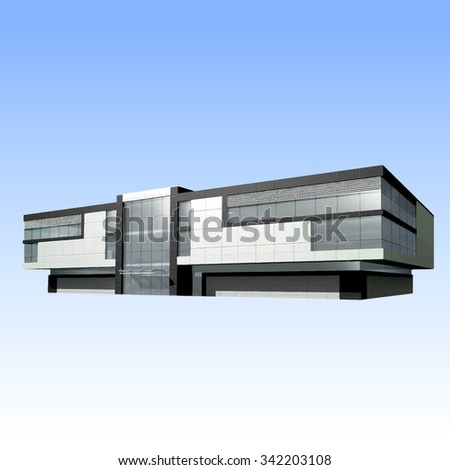 Building on a blue background - stock vector