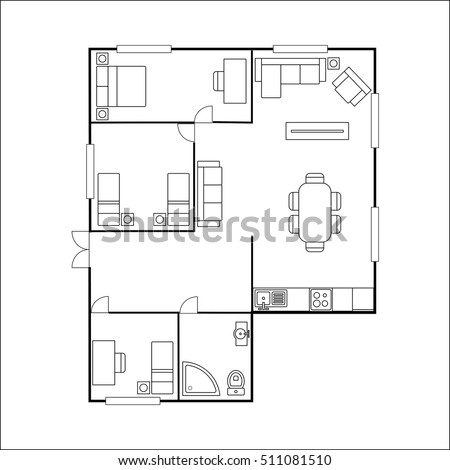building or flat plan with furniture, isolated on white background,stock vector illustration