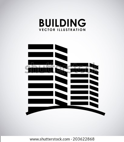 Building over gray background, vector illustration