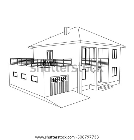 Ordinaire Building Perspective 3D. Drawing Of The Suburban House. Outlines Cottage On  White Background.