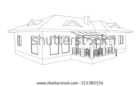 building perspective 3d drawing of the suburban house outlines cottage on white background - 3d Drawing Of House