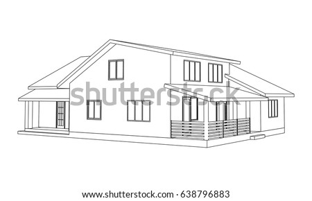 building perspective 3d drawing of the suburban house outlines cottage on white background - House Drawing 3d