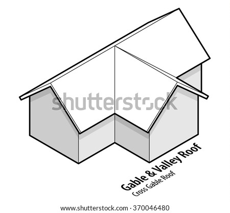 Building roof type: gable and valley roof, or cross gable roof. - stock vector