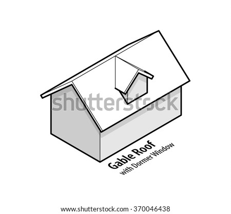 Building roof type: gable roof with dormer window. - stock vector