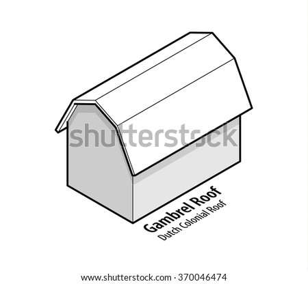 Building roof type: gambrel roof or dutch colonial roof. - stock vector