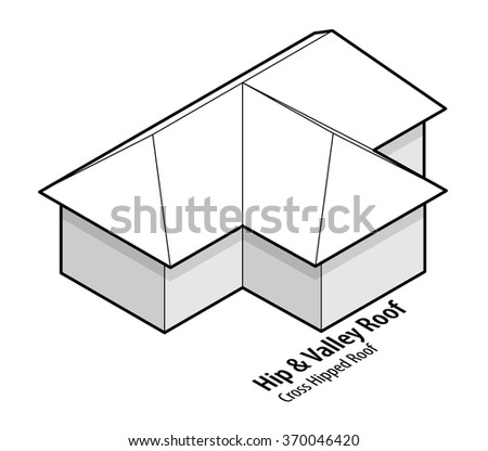 Building roof type: hip and valley roof, or cross hipped roof. - stock vector