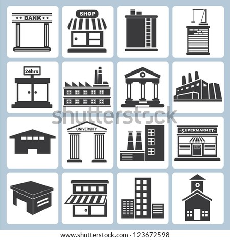 building set and workplace - stock vector