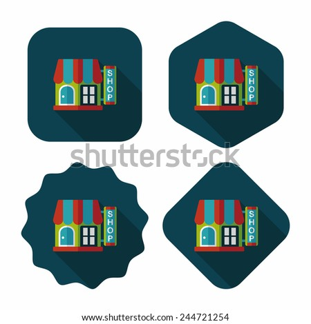 Building shop store flat icon with long shadow,eps10