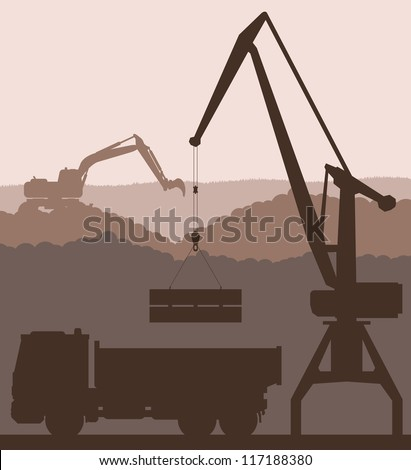Building site and truck vector background