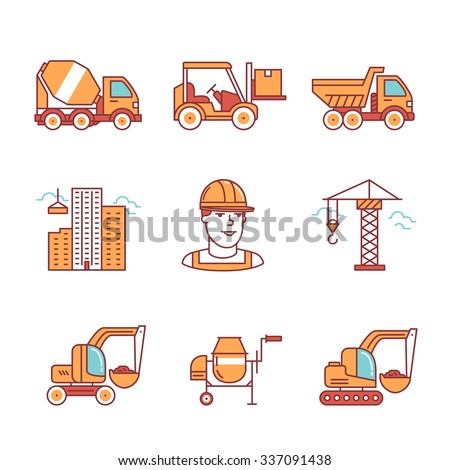 Building site engineering and machinery. Thin line art icons. Flat style illustrations isolated on white. - stock vector