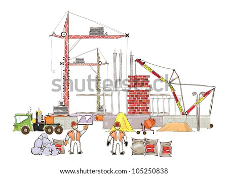 building site illustration HAPPY WORLD COLLECTION - stock vector