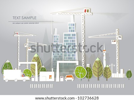 "Building site ""White city"" collection - stock vector"