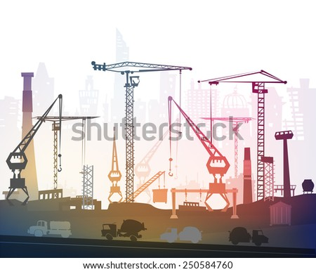 Building site with cranes. City background - stock vector