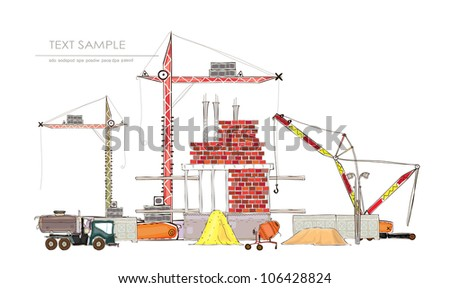 "building site with cranes ""Happy world"" collection - stock vector"