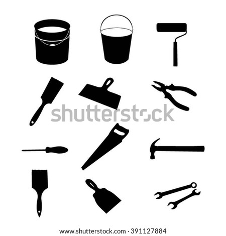 Building tools isolated, tools black silhouette set. Building tools vector set. Building tools black icons. Illustration of pliers, roller, paint brush, screwdriver, saw, hammer, wrench, bucket. - stock vector