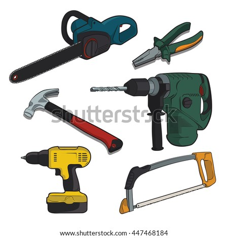 Building tools on a white background