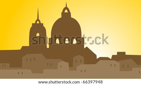 building town on yellow background - stock vector