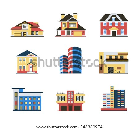 building types, real estate icons