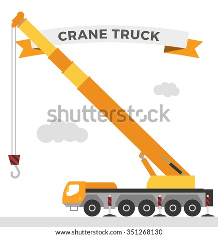 Building under construction crane machine technics vector illustration. Building crane machine  truck vector. Under construction vector concept. Crane machine vector isolated. Crane truck car vector - stock vector